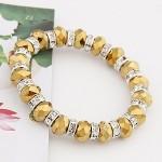 Delicate Rhinestone Inlaid Crystal Beads Bracelet - Golden
