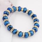 Delicate Rhinestone Inlaid Crystal Beads Bracelet - Royal Blue
