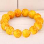 Korean Fashion Glass Beads Bracelet - Yellow