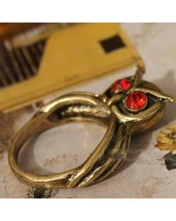Vintage Red Gem Eyes Style Night Owl Ring