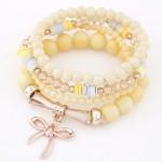Korean Fashion Multi-layer Assorted Beads with Metallic Bowknot Bracelet - Yellow
