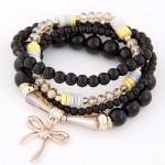 Korean Fashion Multi-layer Assorted Beads with Metallic Bowknot Bracelet - Black