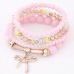 Korean Fashion Multi-layer Assorted Beads with Metallic Bowknot Bracelet - Pink