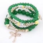 Korean Fashion Multi-layer Assorted Beads with Metallic Bowknot Bracelet - Green