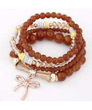 Korean Fashion Multi-layer Assorted Beads with Metallic Bowknot Bracelet - Brown