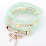Korean Fashion Multi-layer Assorted Beads with Metallic Bowknot Bracelet - Light Green