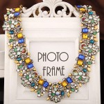 Stunning Luxurious Assorted Gems Combo Design Short Fashion Necklace