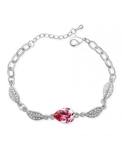 Acacia Fruit Pendant with Leaves Design Auatrian Crystal Bracelet - Pink