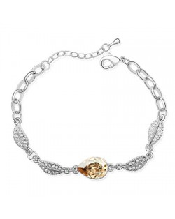 Acacia Fruit Pendant with Leaves Design Auatrian Crystal Bracelet - Champagne