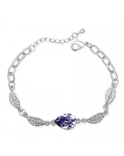 Acacia Fruit Pendant with Leaves Design Auatrian Crystal Bracelet - Purple
