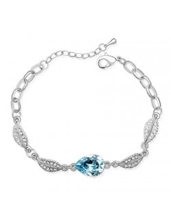 Acacia Fruit Pendant with Leaves Design Auatrian Crystal Bracelet - Blue