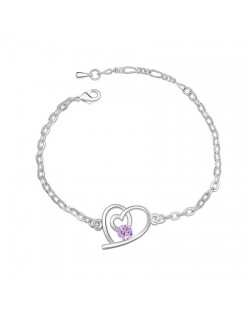 Linked Hearts Auatrian Crystal Bracelet - Violet