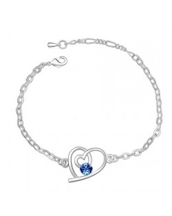 Linked Hearts Auatrian Crystal Bracelet - Blue