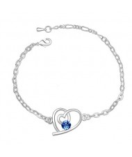 Linked Hearts Austrian Crystal Bracelet - Blue