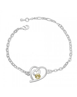 Linked Hearts Auatrian Crystal Bracelet - Yellow