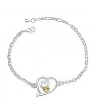 Linked Hearts Austrian Crystal Bracelet - Yellow