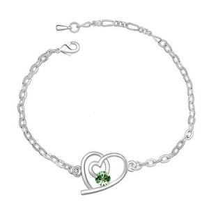 Linked Hearts Austrian Crystal Bracelet - Green