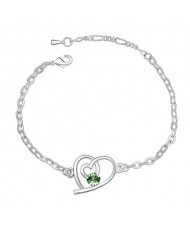 Linked Hearts Austrian Crystal Bracelet - Green