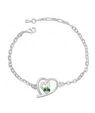 Linked Hearts Auatrian Crystal Bracelet - Green