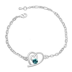 Linked Hearts Austrian Crystal Bracelet - Aquamarine
