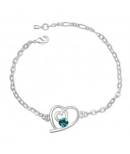 Linked Hearts Austrian Crystal Bracelet - Aquamarine