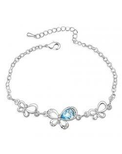 Triple Butterflies Auatrian Crystal Bracelet - Blue
