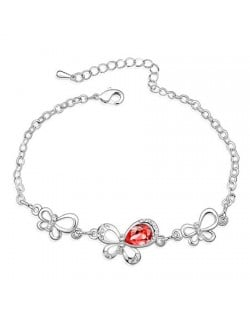 Triple Butterflies Auatrian Crystal Bracelet - Red