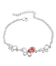 Triple Butterflies Austrian Crystal Bracelet - Red