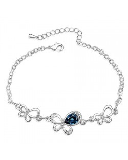 Triple Butterflies Auatrian Crystal Bracelet - Ink Blue