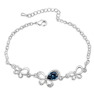 Triple Butterflies Austrian Crystal Bracelet - Ink Blue