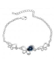 Triple Butterflies Austrian Crystal Bracelet - Ink Blue