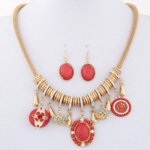 Bohemian Fashion Assorted Turquoise Pendants Thick Chain Necklace and Earrings Set - Red