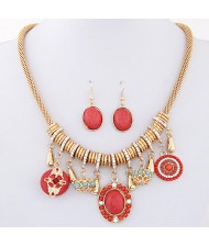Bohemian Fashion Assorted Turquoise Pendants Thick Chain Necklace and Earrings Set