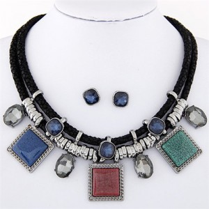 Rhinestone and Stone Gems Square Fashion Dual Layers Design Necklace and Earrings Set - Multicolor