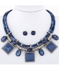 Rhinestone and Stone Gems Square Fashion Dual Layers Design Necklace and Earrings Set - Blue