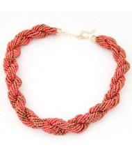 Bohemian Fashion Weaving Dough Twist Mini Beads Statement Necklace - Pink