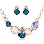 Luminous Rhinestone and Opal Embellished Fashion Necklace and Earrings Set