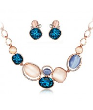 Luminous Rhinestone and Opal Embellished Fashion Necklace and Earrings Set