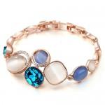 Rhinestone and Opal Inlaid Succinct Fashion Golden Alloy Bracelet