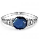Rhinestone and Glass Embeded Office Lady Fashion Bracelet - Silver