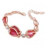 Charming Red Opal Tulips Alloy Bracelet