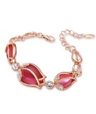 Charming Red Opal Tulips Alloy Bracelet