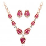 Charming Red Opal Tulips Fashion Necklace and Earrings Set