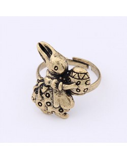 Vintage Cute Easter Egg Holding Rabbit Ring