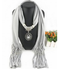 Oval Turquoise Pendant Fashion Scarf Necklace - Gray