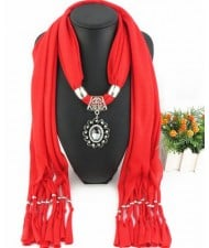 Oval Turquoise Pendant Fashion Scarf Necklace - Red