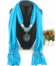 Oval Turquoise Pendant Fashion Scarf Necklace - Sky Blue