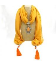Stone Gem Water Drop Pendant Fashion Tassel Scarf Necklace - Yellow