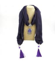 Stone Gem Water Drop Pendant Fashion Tassel Scarf Necklace - Purple