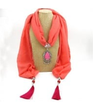 Stone Gem Water Drop Pendant Fashion Tassel Scarf Necklace - Red